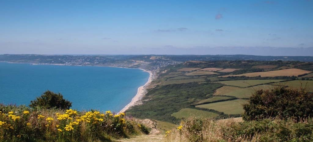 View to Lyme Regis from the summit of Golden Cap